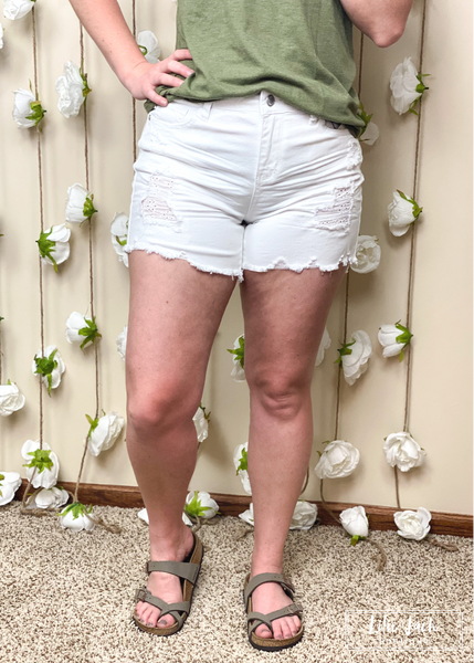 The Lola White Lace Patch Judy Blue Shorts