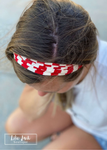 Game Day Red & White Stripe Headband - Dona Bela Shreds