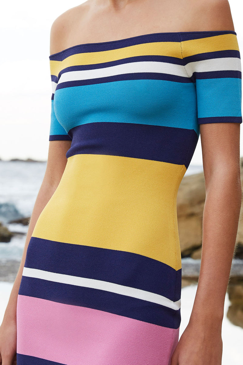 By Johnny Coloured Lines Mini Dress