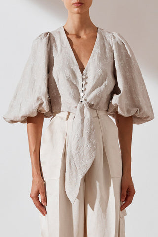 Shona Joy Margot Embroidered Linen Tie Front Blouse