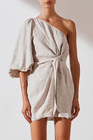 Shona Joy Margot Embroidered Linen One Shoulder Draped Mini Dress