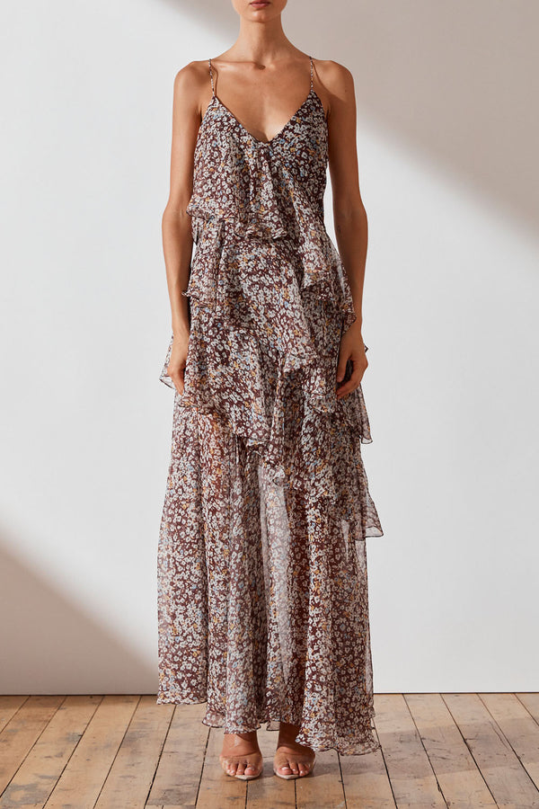 Shona Joy Garner Cross Back Tiered Maxi Dress