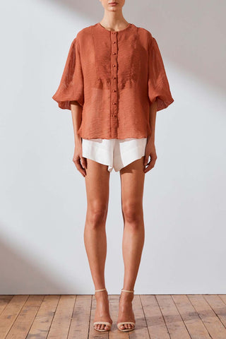 Shona Joy Charlotte Balloon Sleeve Blouse Rust