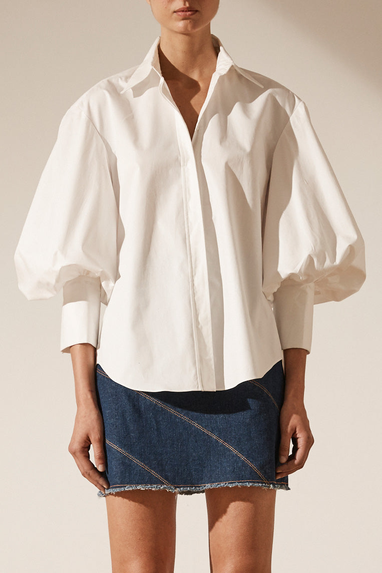 Shona Joy Grant Collared Shirt White