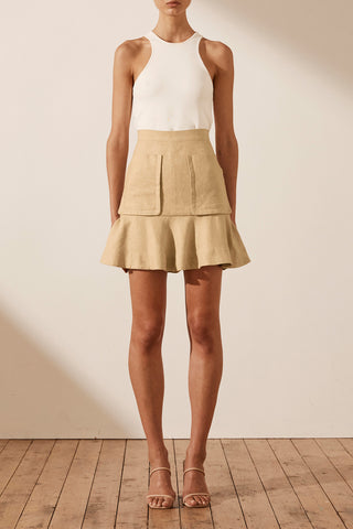 Shona Joy Carmen Linen Mini Skirt