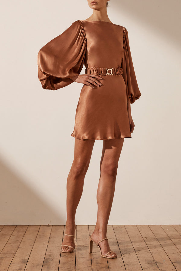 Shona Joy Gala Balloon Sleeve Mini Dress With Belt