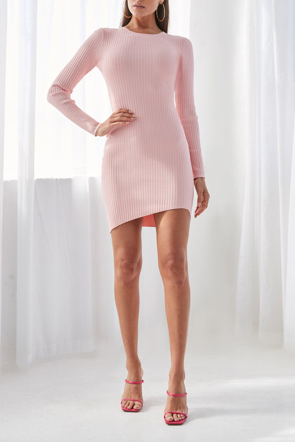By Johnny Double Rib Long Sleeve Mini Dress