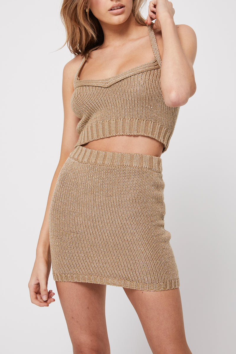 Rozalia x Atoir The Knit Skirt Gold