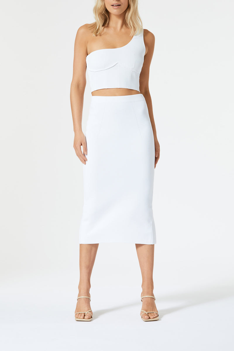 San Sloane Val High Waist Midi Skirt White