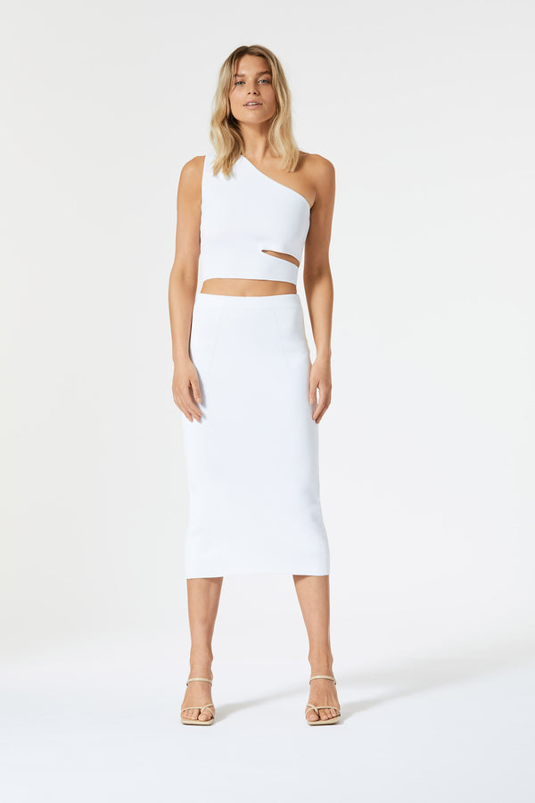 San Sloane Adriana Asym Cut Out Top White