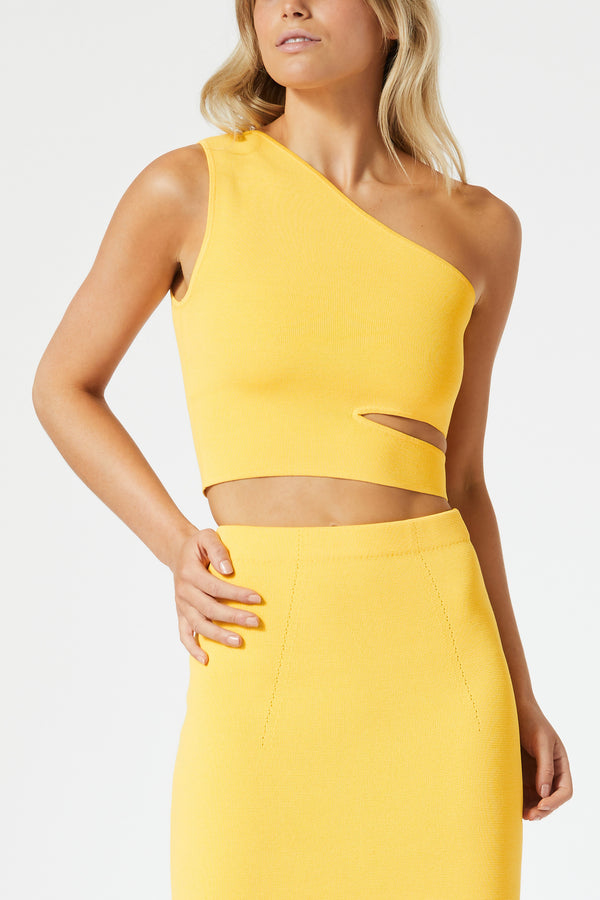 San Sloane Adriana Asym Cut Out Top Mango