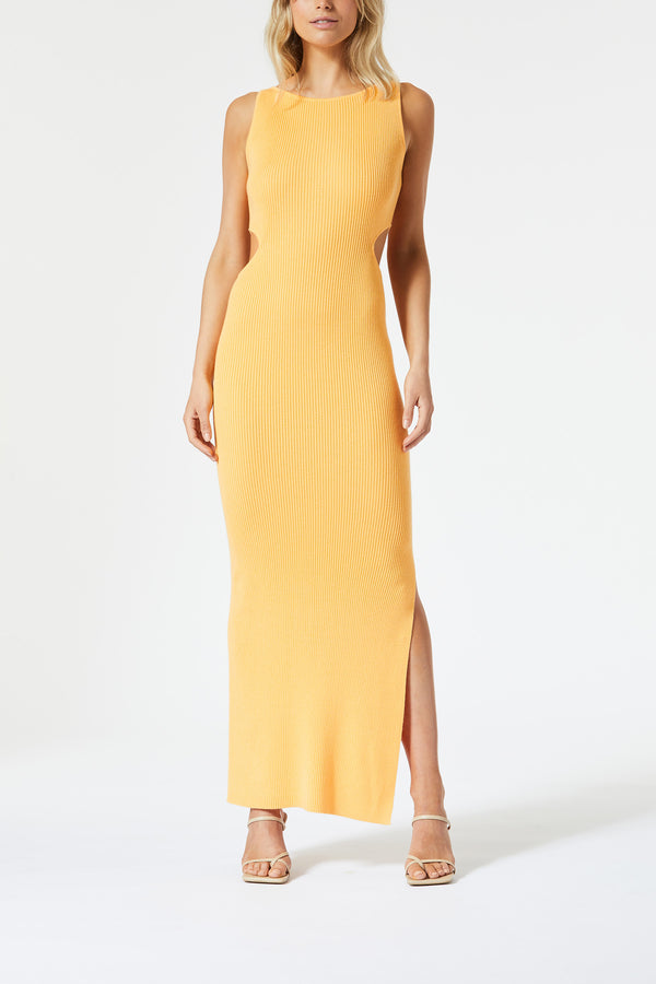 San Sloane Braxton Boat Neck Cut Out Midi Melon