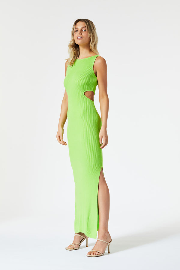 San Sloane Braxton Boat Neck Cut Out Midi Lime