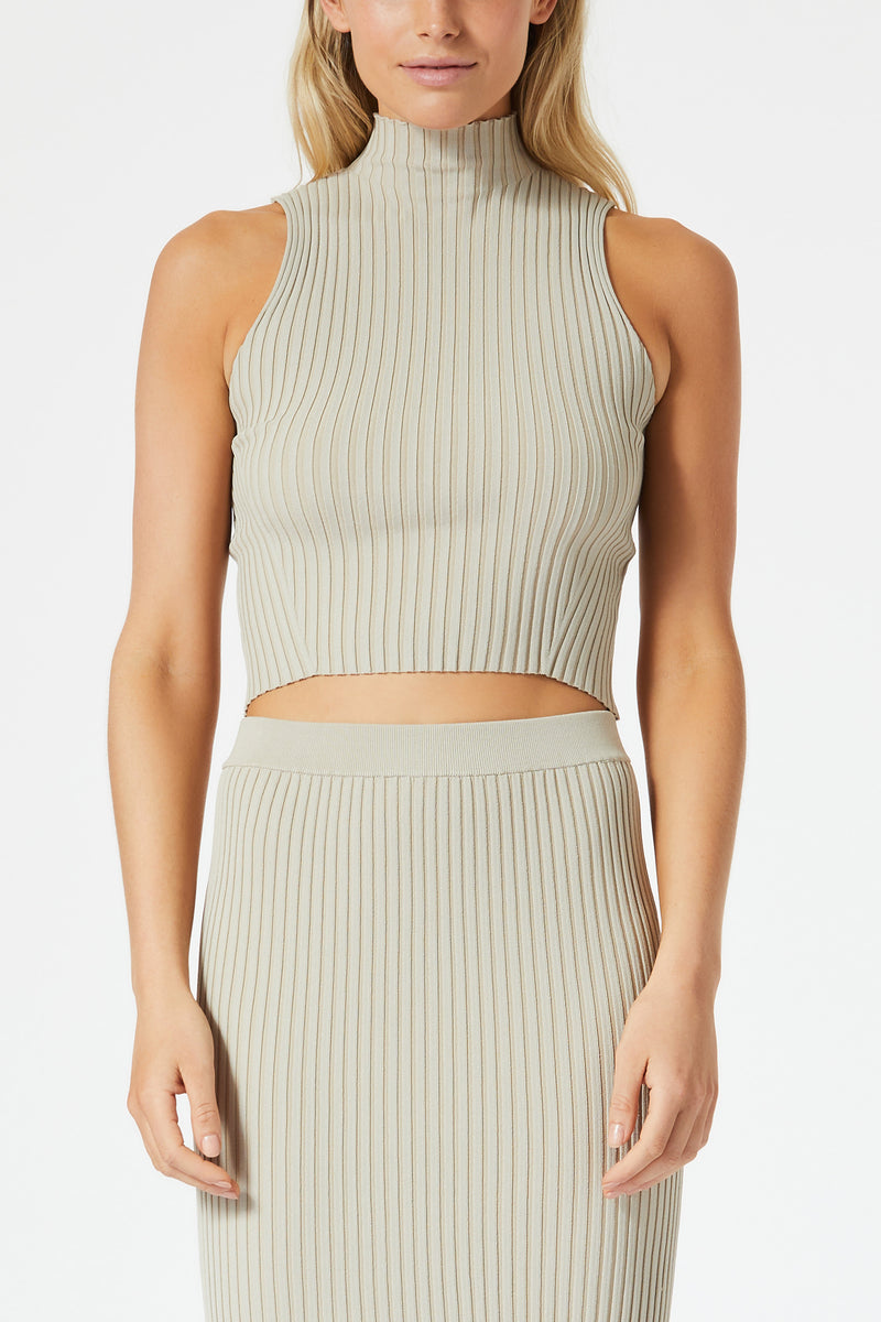 San Slaone Robbie High Neck Rib Top Oatmeal