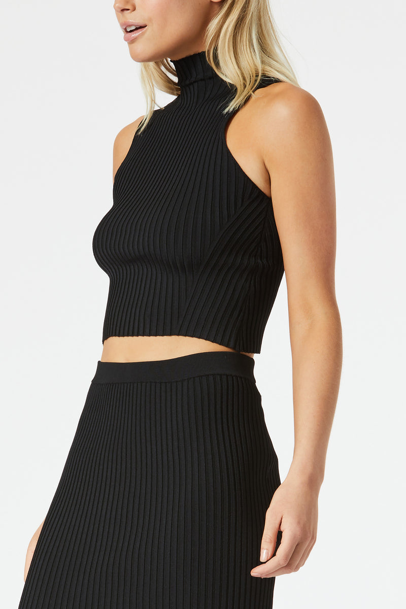 San Sloane Robbie High Neck Rib Top Black