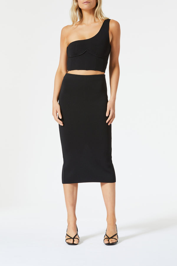 San Sloane Val High Waist Midi Skirt Black