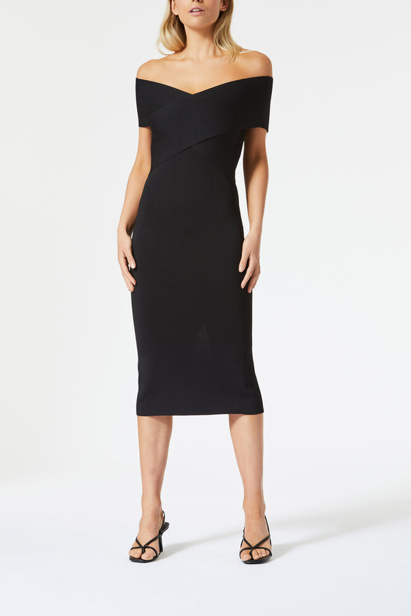 San Sloane Harley Crossover Midi Dress Black