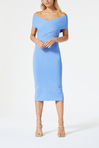 San Sloane Harley Crossover Midi Dress Cornflower Blue