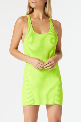 San Sloane Femme Rib Knit Mini Dress Citrus