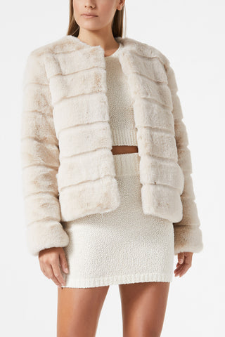 San Sloane Margot Faux Fur Jacket Light Tan