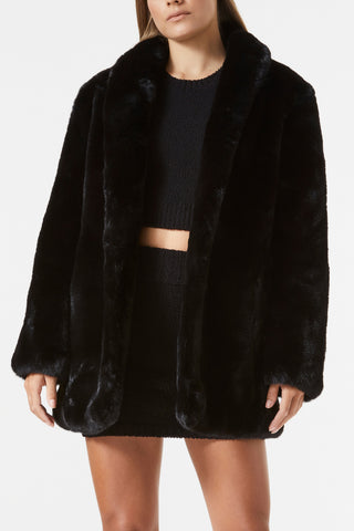 San Sloane Crawford Faux Fur Jacket Black