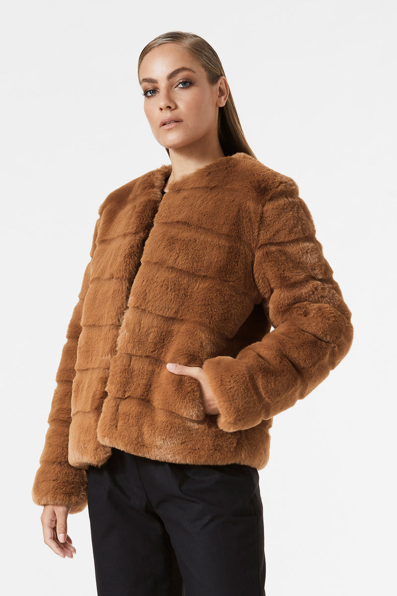 San Sloane Margot Faux Fur Jacket Toffee