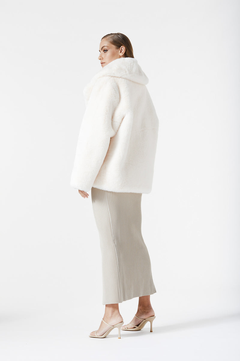 San Sloane Dahlia Faux Fur Jacket Cream