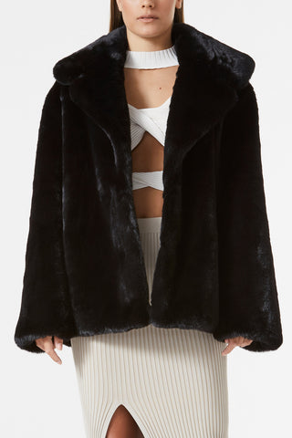 San Sloane Dahlia Faux Fur Jacket Black