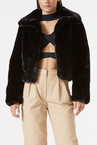 San Sloane Lyra Faux Fur Jacket Black