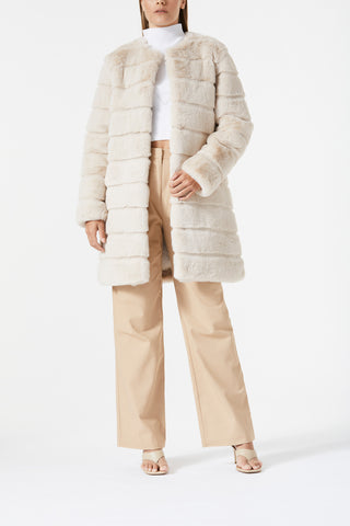 San Sloane Eden Faux Fur Jacket Light Tan