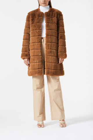 San Sloane Eden Faux Fur Jacket Toffee