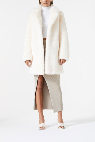 San Sloane Andromeda Faux Fur Jacket Cream
