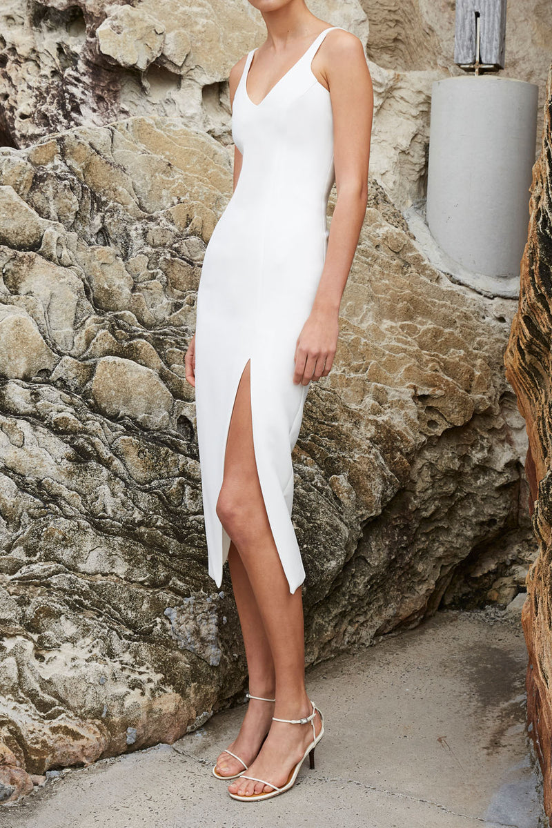 By Johnny Contour Lines Split Midi Dress