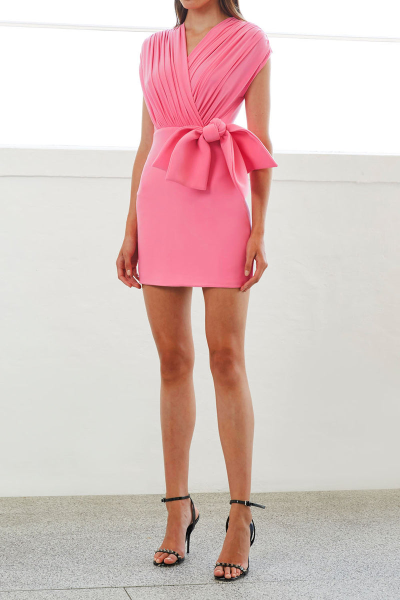 By Johnny Gloria Bow Drape Mini Dress