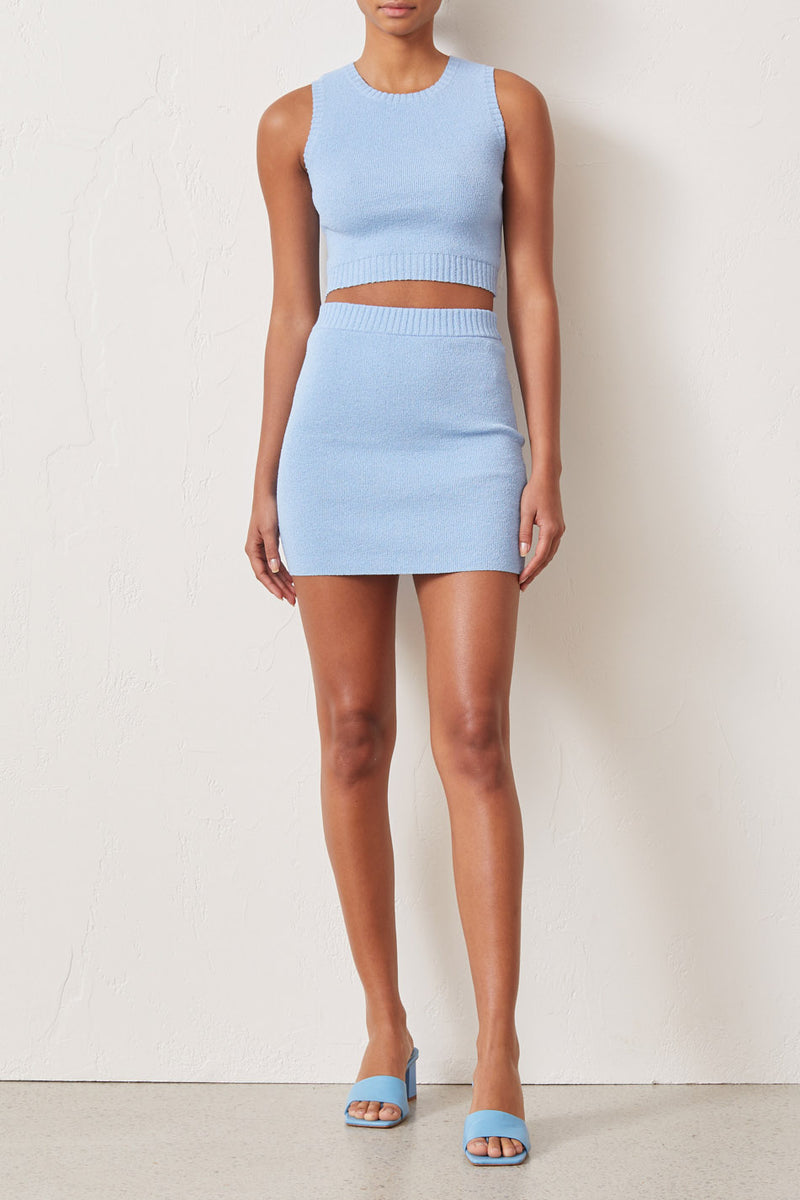 Bec and Bridge Lemon Squeezy Knit Mini Skirt Sky Blue