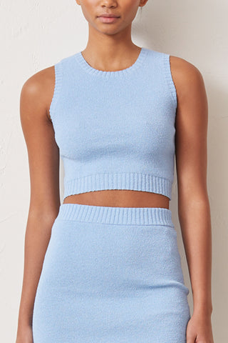 Bec and Bridge Lemon Squeezy Knit Crop Top Sky Blue
