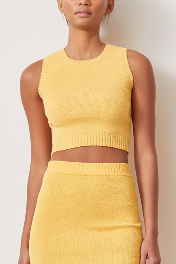 Bec and Bridge Lemon Squeezy Knit Crop Top Sunray