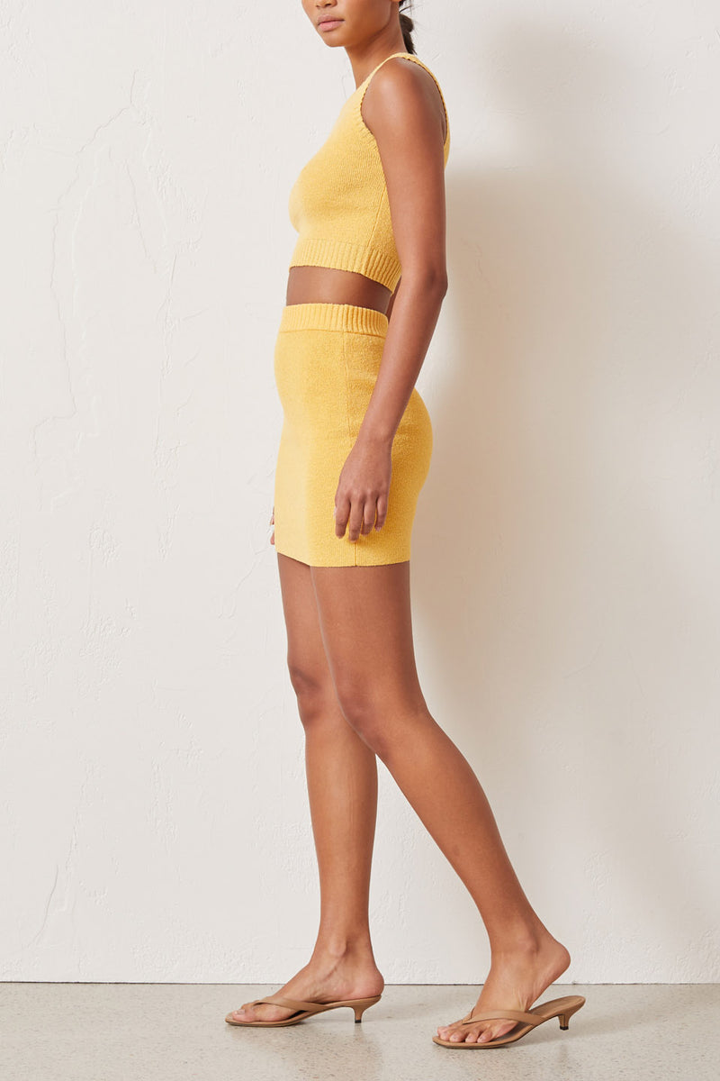 Bec and Bridge Lemon Squeezy Knit Mini Skirt Sunray