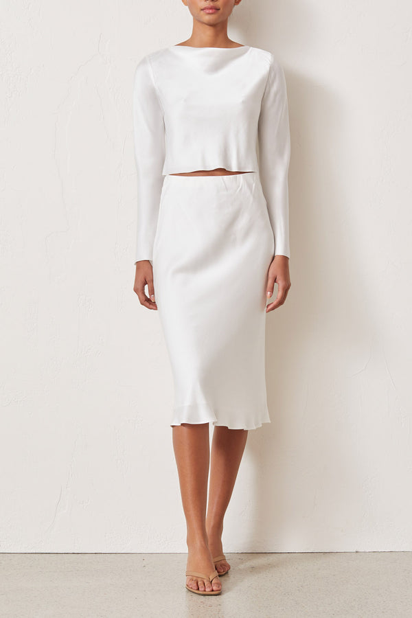 Bec and Bridge Classic Silk Midi Skirt Ivory