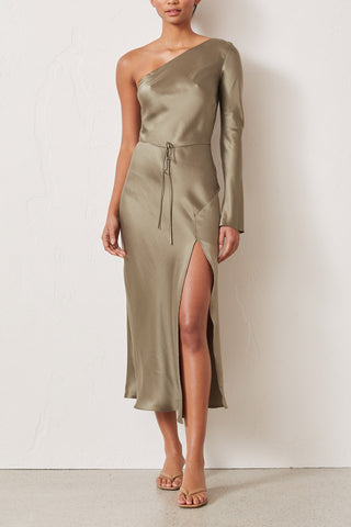 Bec and Bridge Classic Silk Asym Midi Dress Khaki