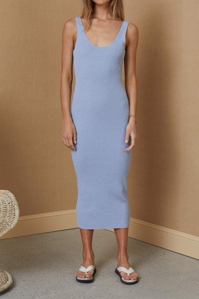 Bec and Bridge Mimi Knit Midi Dress Silver Blue