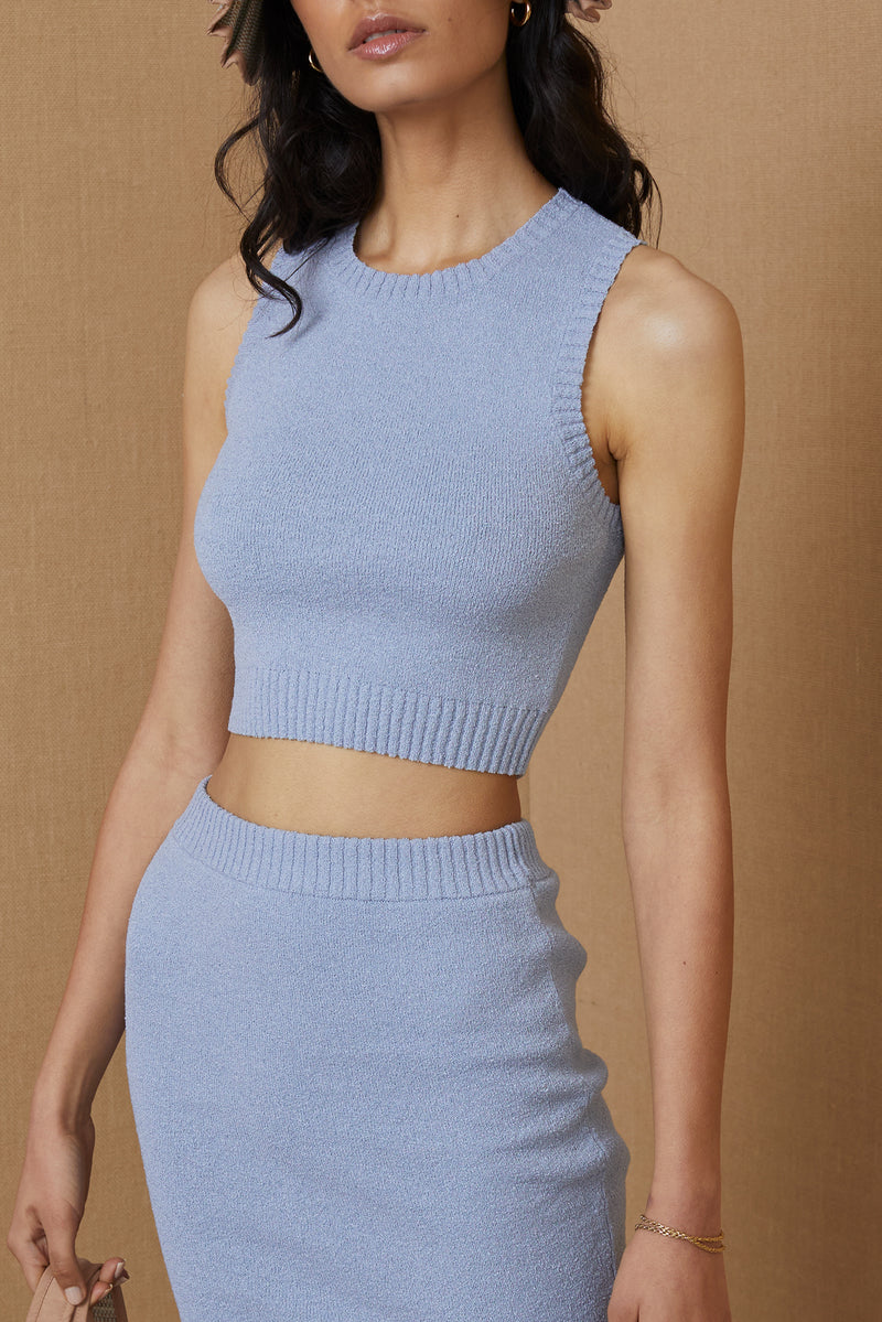 Bec and Bridge Mimi Knit Crop Top Silver Blue