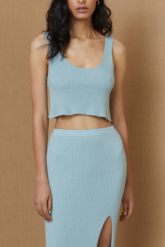 Bec and Bridge Margot Knit Crop Top Duck Egg
