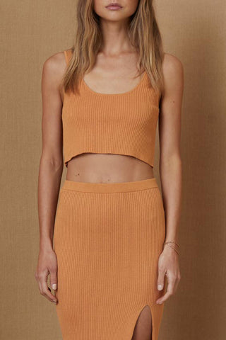 Bec and Bridge Margot Knit Crop Top Nutmeg