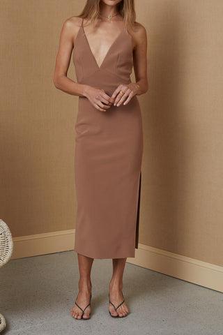 Bec and Bridge Maddison V Midi Dress Milk Chocolate