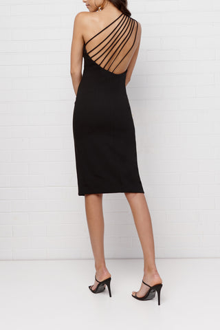 By Johnny Sara Slice Asymmetric Midi Dress