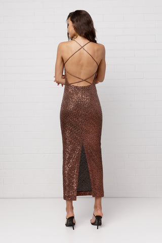 By Johhny Chocolate Sequin Cross Back Dress