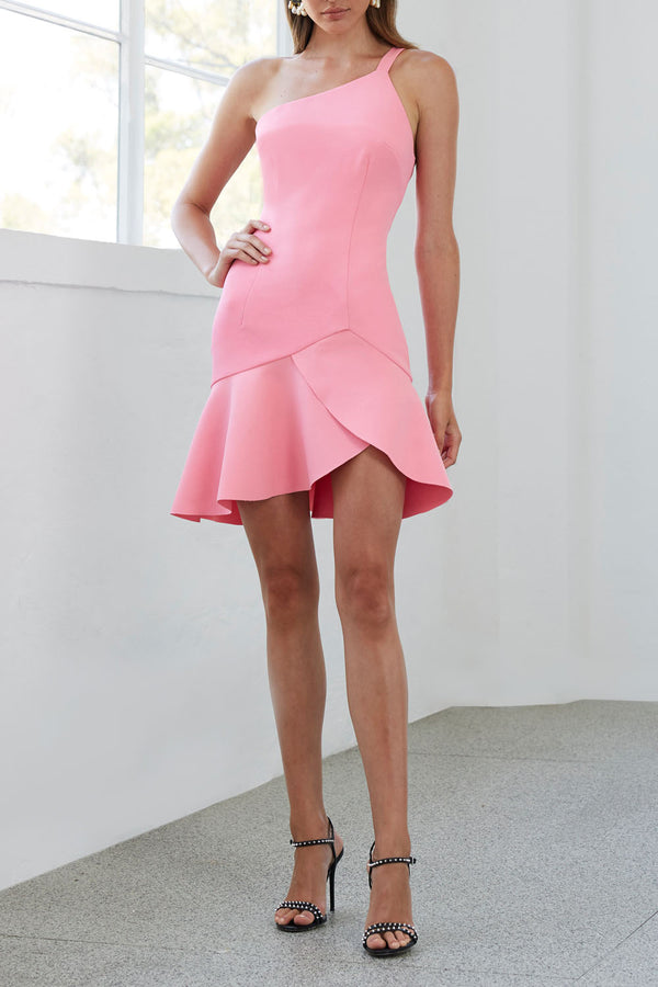 By Johnny Asymmetric Tulip Mini Dress