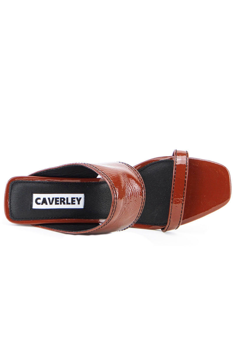 Caverley Becca Mule Crinkle Patent Hickory