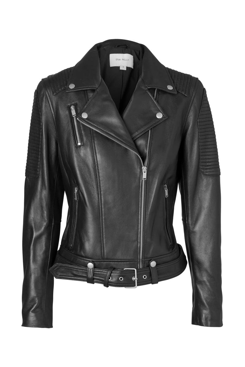 Ena Pelly Classic Biker Jacket Smooth Black Silver